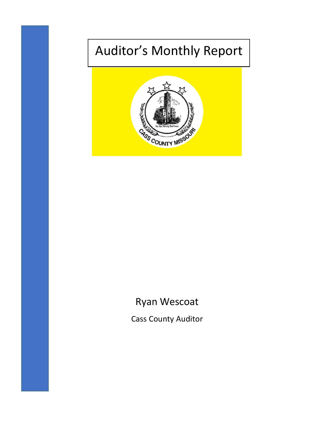 Auditor Monthly Report